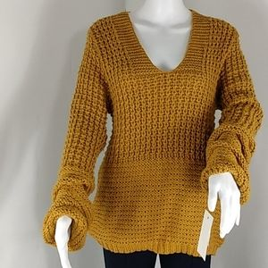 ady p Balloon Sleeved Chunky Knit Sweater